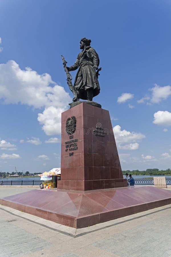 Monumento al fundador del cosaco Yakov Pokhabov de Irkutsk imágenes de archivo libres de regalías