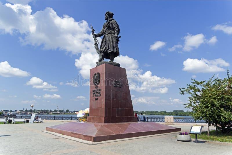 Monumento al fundador del cosaco Yakov Pokhabov de Irkutsk fotografía de archivo