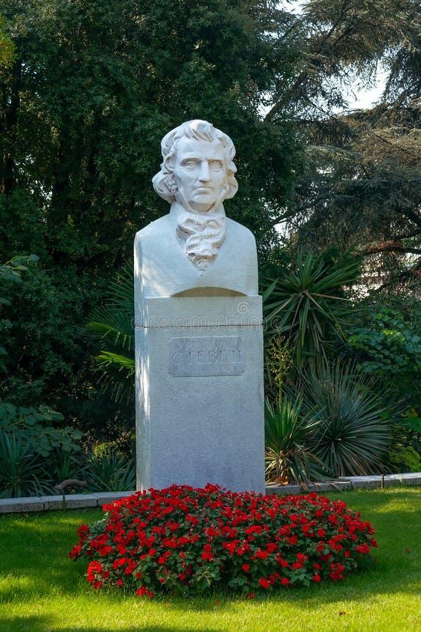 Monumento al fundador del jardín botánico de Nikitsky, Christian Steven 1781-1863 imágenes de archivo libres de regalías