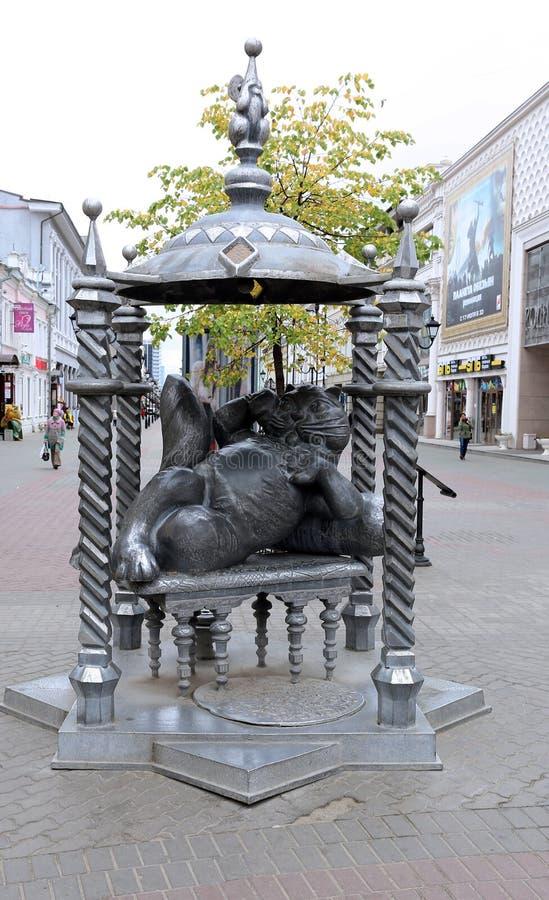Monumento al gatto di Kazan fotografie stock libere da diritti