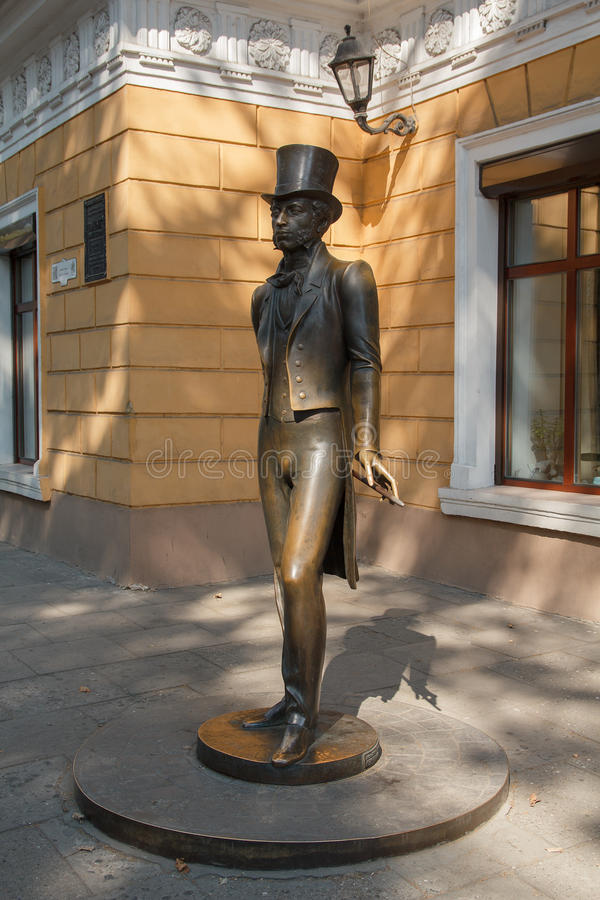 Monumento al gran poeta ruso Alexander Pushkin odessa imagenes de archivo