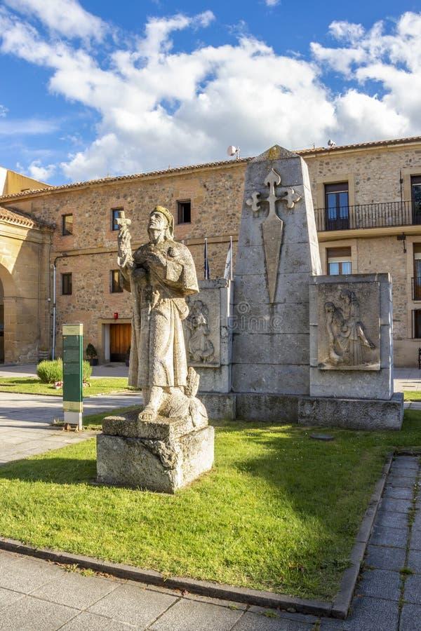 Monument to the Pilgrims in front of the Monastery of San Francisco in Santo Domingo de la Calzada, La Rioja, Spain. Monumento al Peregrino or Monument to the stock photography