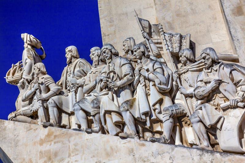 Monumento al porto del Tago Belem Lisbona degli esploratori di Diiscoveries immagini stock libere da diritti