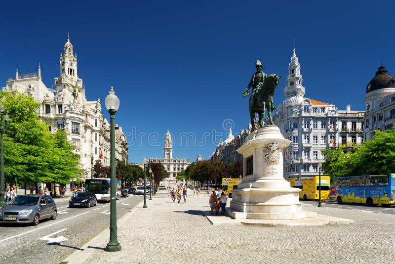 Monumento al primo re del Portogallo Don Pedro IV immagini stock