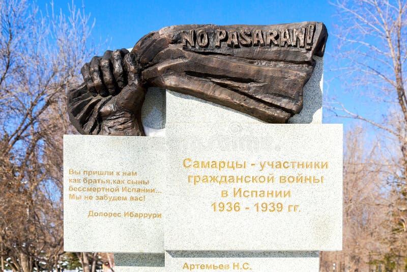 Monumento al Samarans - participantes de la guerra civil en Spai imagen de archivo