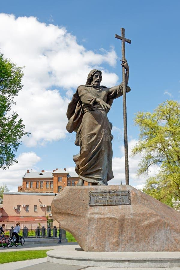Monumento al santo di Andrew dell'apostolo Primo chiamato a Harkìv, Ucraina fotografia stock libera da diritti