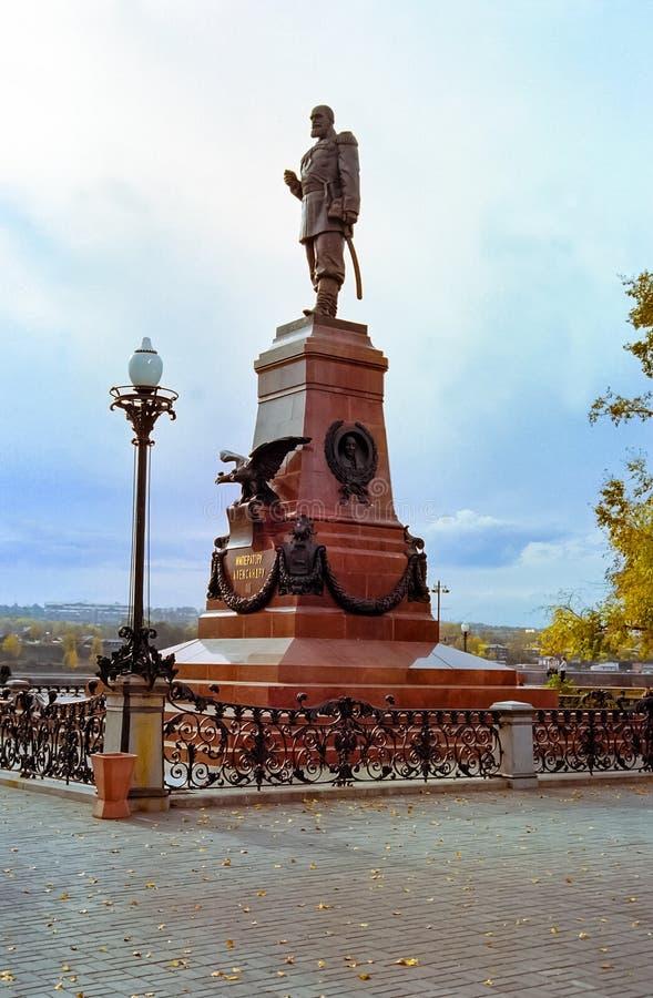 Monumento a Alexander el tercero en Irkutsk en el territorio de Krasnoyarsk, Rusia foto de archivo