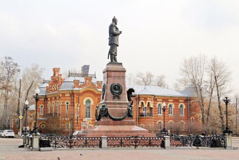 Monumento a Alexander III na frente da sabedoria local fotos de stock royalty free