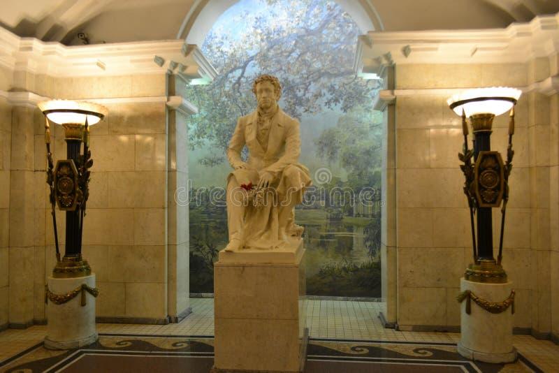 Monumento a Alexander Pushkin, el gran poeta ruso, fotos de archivo