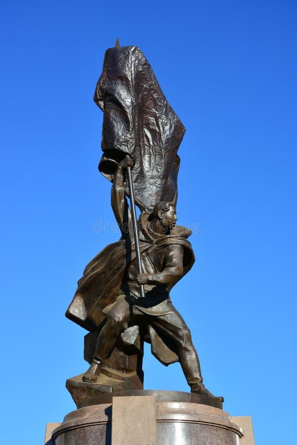 Monumento all'eroe Koshkarbaev di guerra a Astana fotografia stock libera da diritti