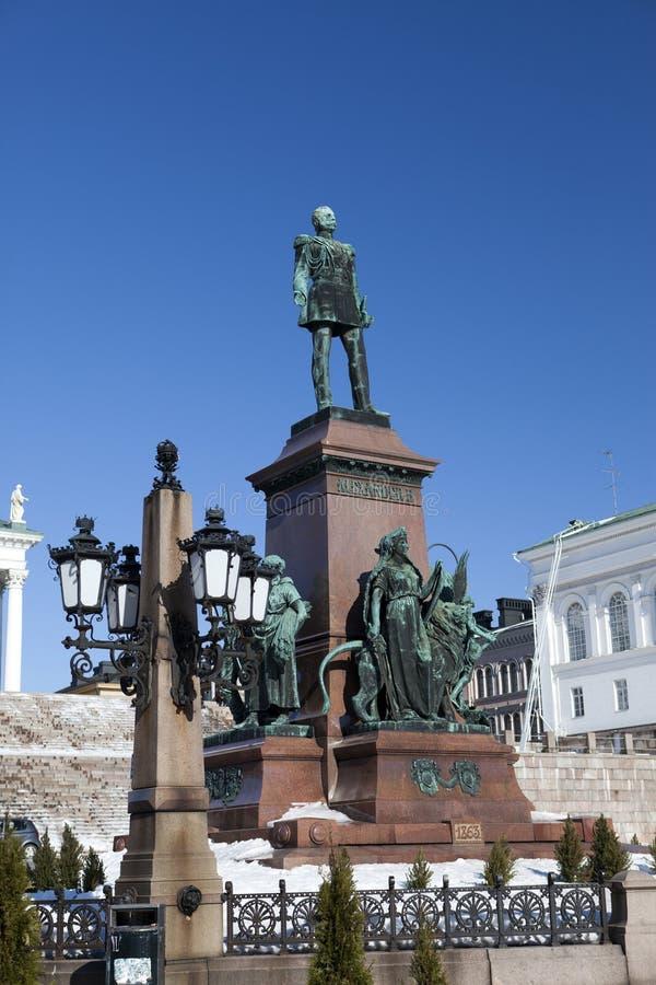 Monumento all'imperatore russo Alessandro II a Helsinki, Finlandia fotografia stock libera da diritti