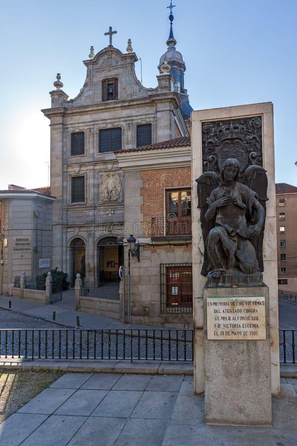 Monumento alla chiesa di Alfonso e di Victoria Eugenia XIII delle forze armate in città di Madrid, stazione termale fotografia stock libera da diritti