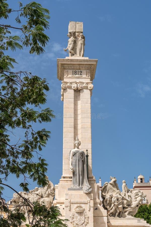 Monumento alla costituzione di 1812 a Cadice immagine stock libera da diritti