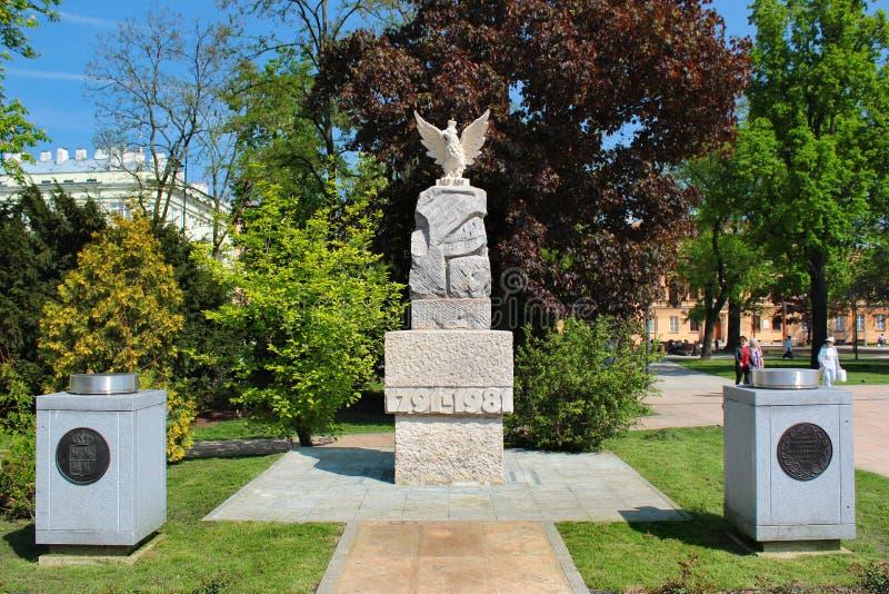 Monumento alla costituzione a Lublino, Polonia fotografia stock