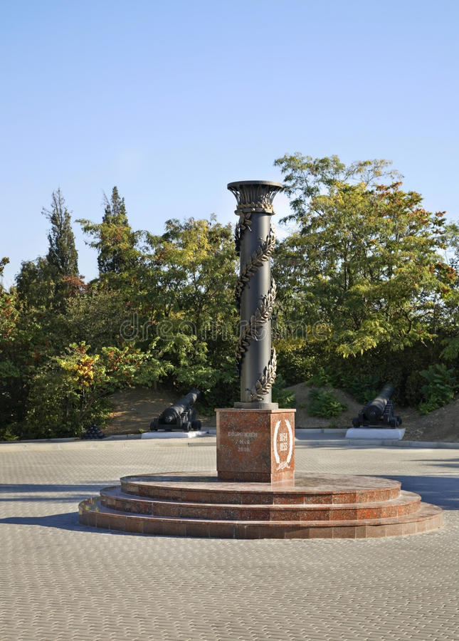Monumento alle protezioni di Sebastopoli sevastopol l'ucraina fotografie stock libere da diritti