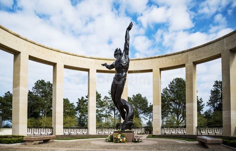 Monumento americano del cementerio en Normandía foto de archivo libre de regalías
