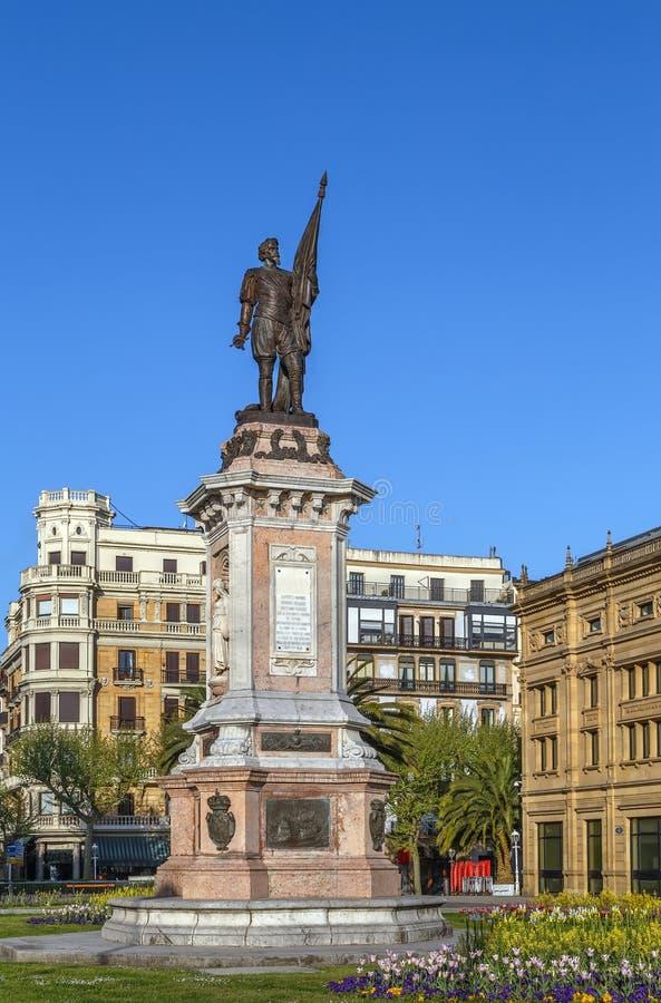 monumento a Antonio de Oquendo, ¡ n de San SebastiÃ, Espanha imagem de stock