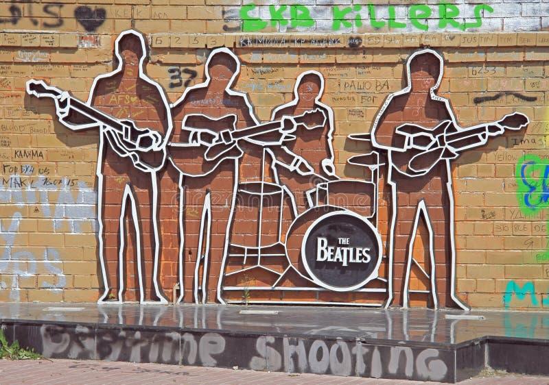 Monumento ao Beatles em Yekaterinburg, Rússia fotografia de stock