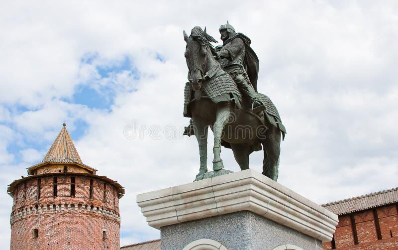 Monumento ao duque grande a Dmitry Don, cidade Kolomna fotos de stock