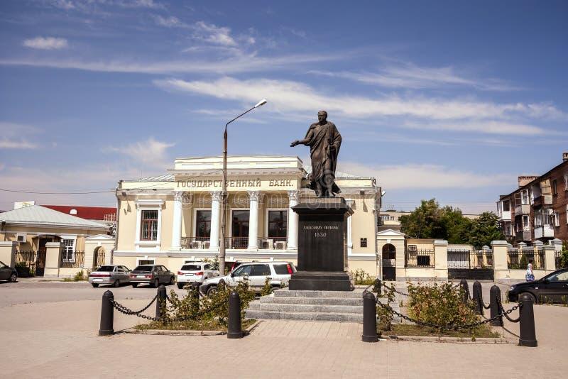 Monumento ao imperador Alexander o primeiro em Alexander Square na cidade de Taganrog, região de Rostov, Rússia, o 4 de agosto de fotos de stock royalty free
