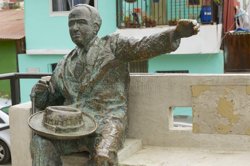 Monumento ao poeta chileno famoso Pablo Neruda, Valparaiso, o Chile fotografia de stock royalty free