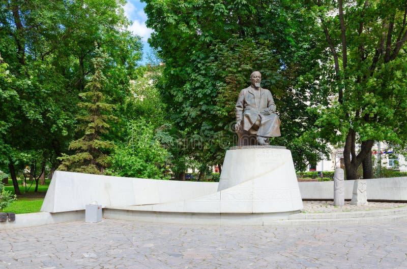 Monumento ao poeta do Cazaque e ao pensador Abay Kunanbayev, Moscou fotos de stock