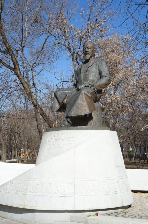 Monumento ao poeta do Cazaque e ao pensador Abay Kunanbayev em Moscou, Rússia imagem de stock