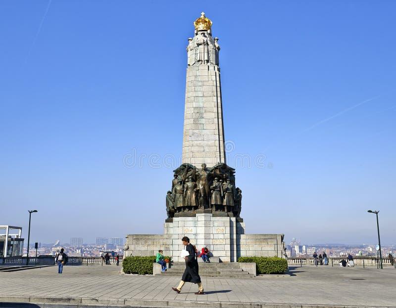 Monumento belga de la infantería en el lugar Poelaert imágenes de archivo libres de regalías