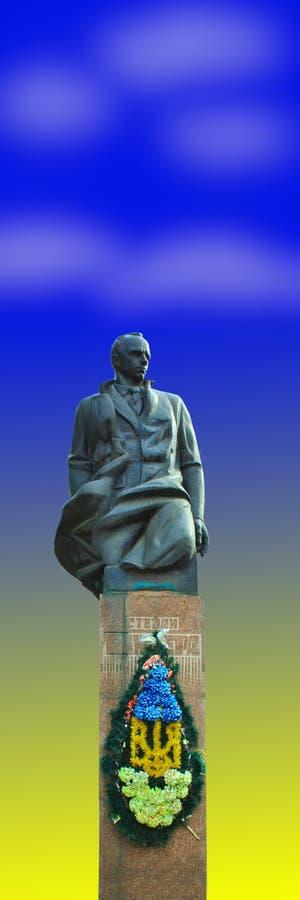 Monumento bronzeo a Stepan Bandera immagine stock