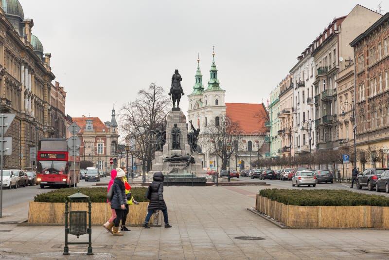 Monumento che commemora la battaglia di Grunwald Cracovia, Polonia immagini stock