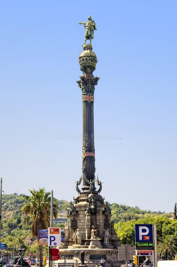 Monumento a Christopher Columbus a Barcellona fotografia stock libera da diritti