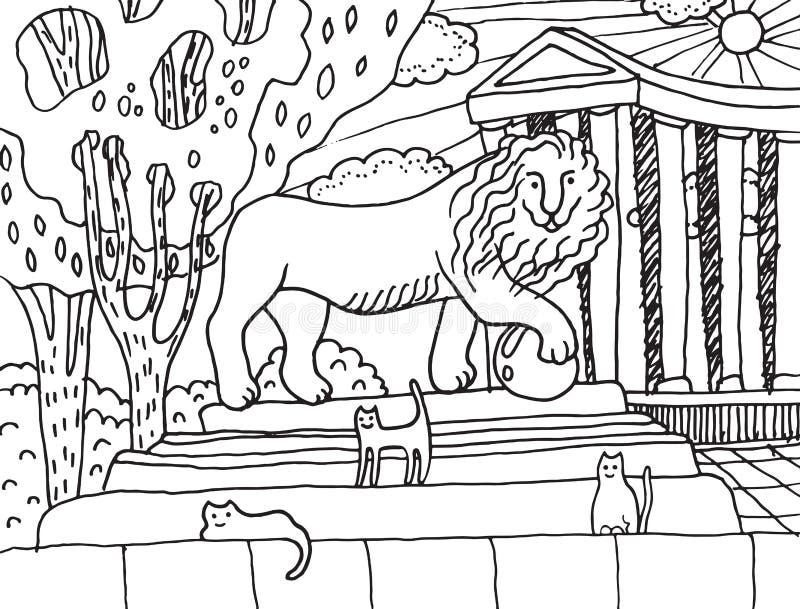 Monumento con el león y los gatos en él en Odessa ilustración del vector