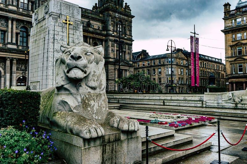 Monumento conmemorativo de la guerra en el centro de la ciudad de Glasgow imágenes de archivo libres de regalías