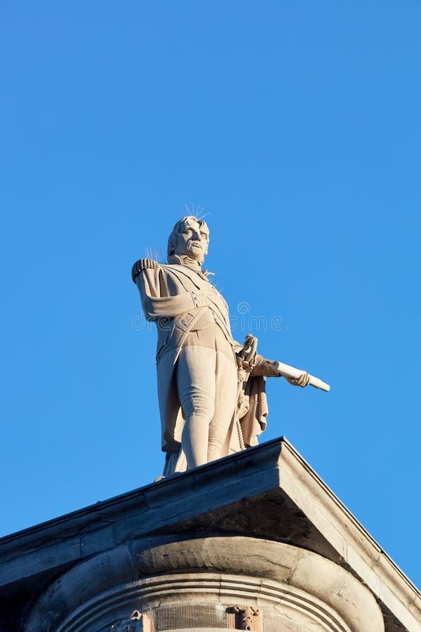 Monumento da coluna de Nelson francês do missionário em Montreal, Quebeque, Canadá imagem de stock