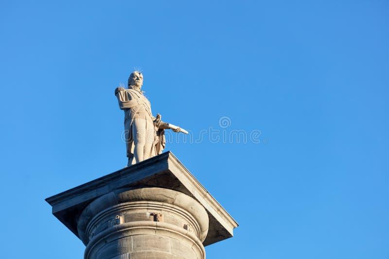 Monumento da coluna de Nelson franc?s do mission?rio em Montreal, Quebeque, Canad? foto de stock royalty free