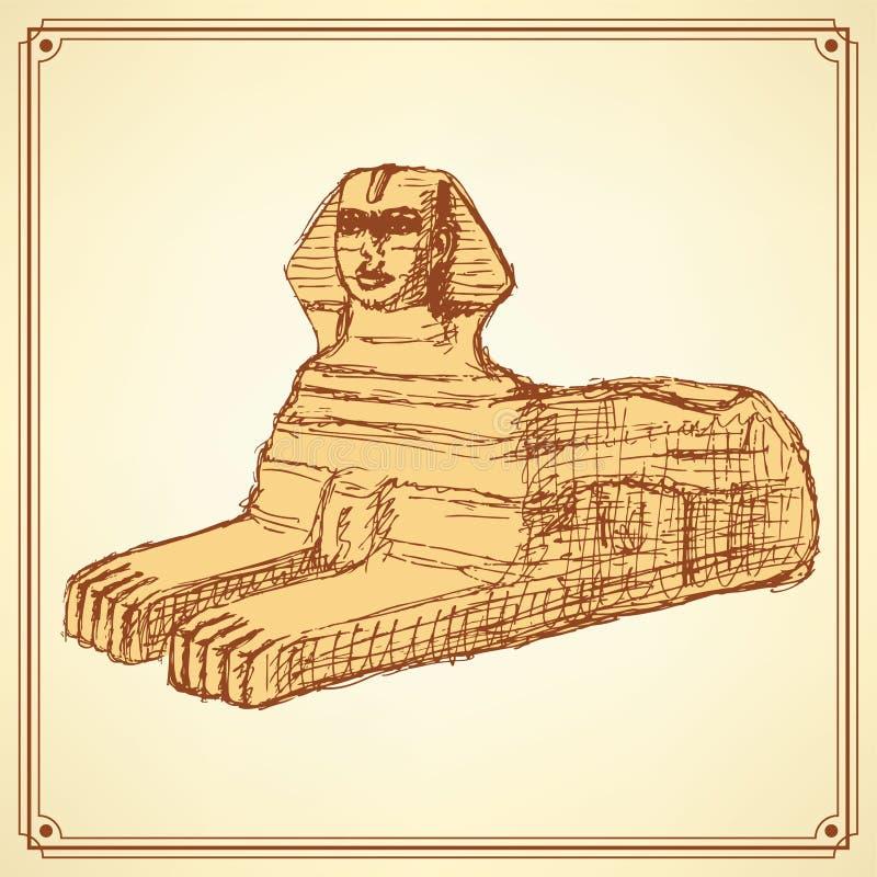 Monumento da esfinge do esboço no estilo do vintage ilustração royalty free