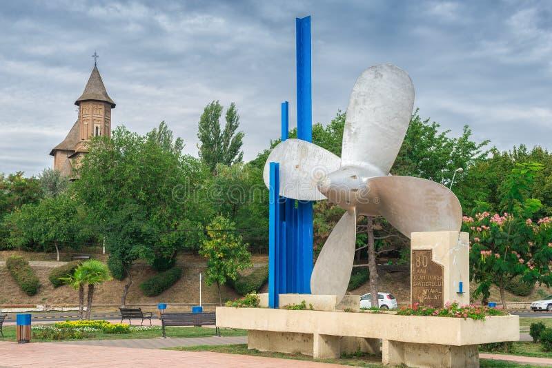 Monumento da hélice em Galati, Romênia fotografia de stock royalty free