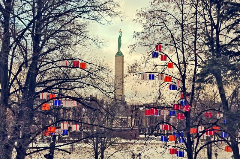 Monumento da liberdade em Riga fotos de stock