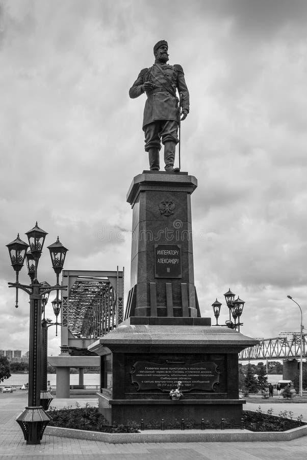 Monumento de Alexander III em Novosibirsk, Rússia imagens de stock royalty free