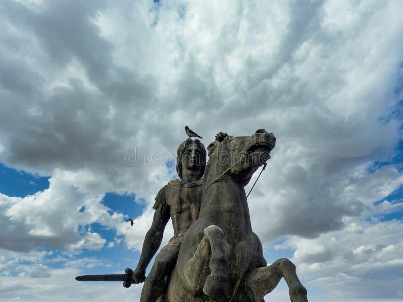 Monumento de Alexandre O Grande em Salónica fotos de stock