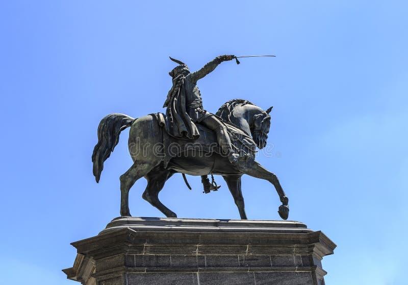 Monumento de Bana Josip Jelacic em Zagreb, Croácia imagem de stock