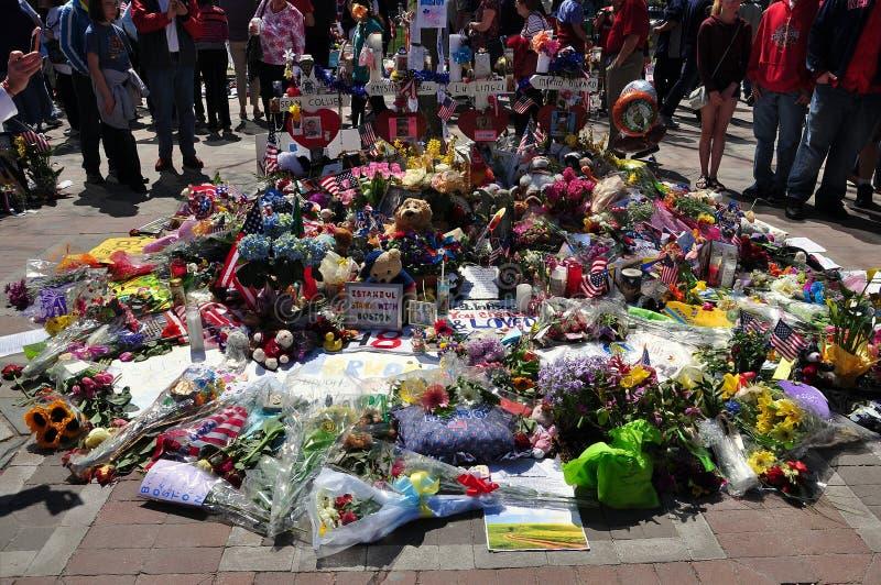 Monumento de bombardeo del maratón de Boston fotos de archivo libres de regalías