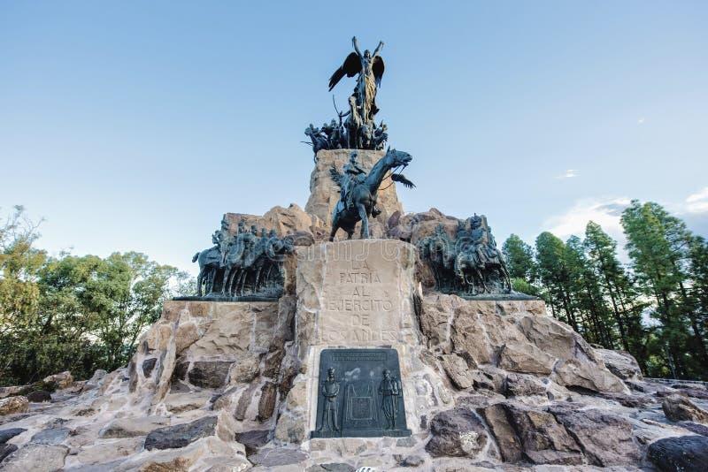 Monumento de Cerro de la Gloria en Mendoza, la Argentina. fotografía de archivo libre de regalías