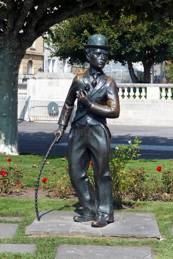 Monumento de Charlie Chaplin, Vevey, Suiza fotografía de archivo