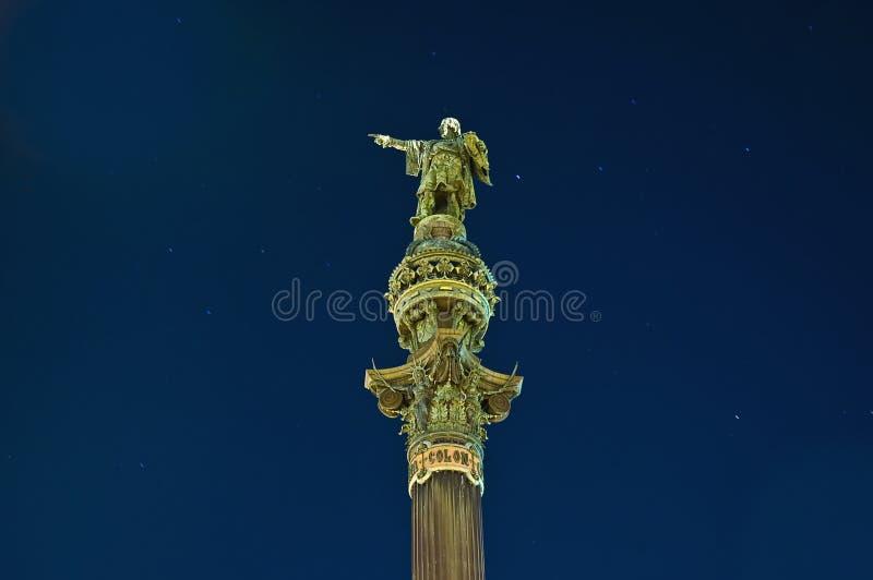 Monumento de Columbo em Barcelona, Spain imagens de stock