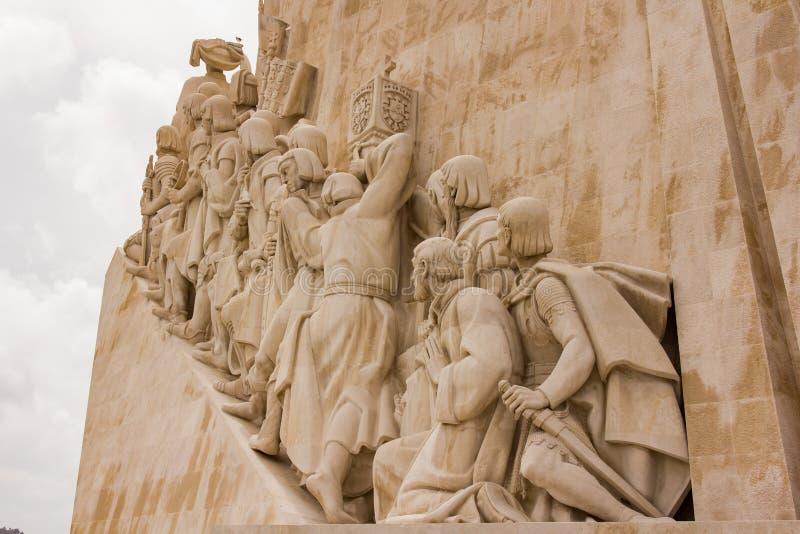 Monumento de descubrimientos - detalle, Lisboa foto de archivo