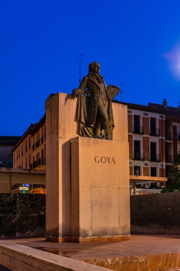 Monumento de Francisco Goya em Zaragoza, Espanha fotografia de stock royalty free