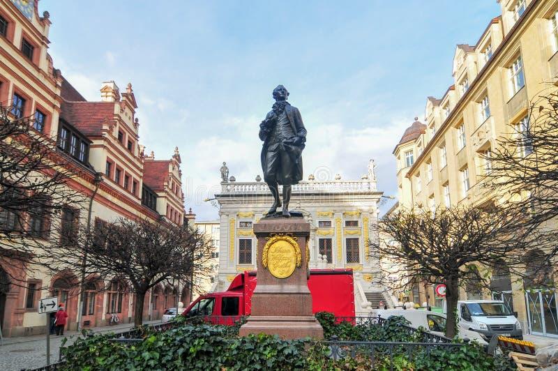 Monumento de Goethe - Leipzig, Alemanha imagem de stock