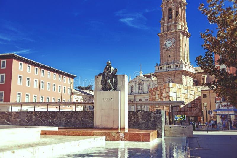Monumento de Goya fotografía de archivo