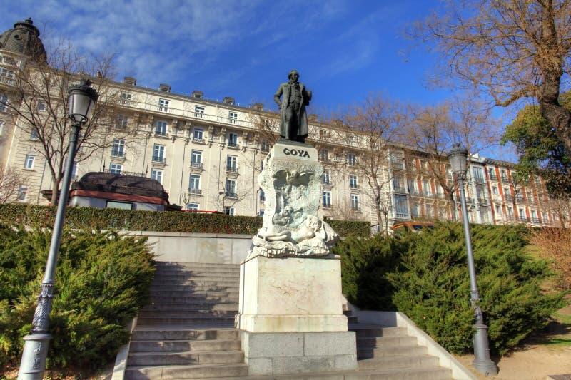 Monumento de Goya en Madrid, España fotografía de archivo